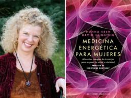 Donna Eden y la portada de su libro Medicina energética para mujeres