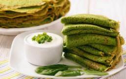 Creps de espinacas, nueces y chlorella